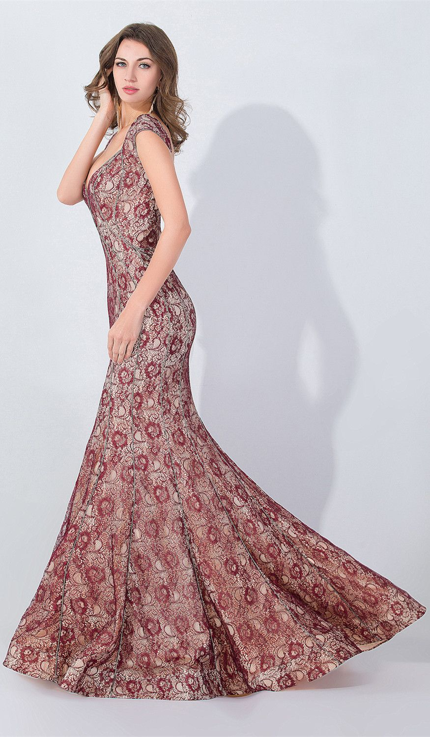 Mermaid red lace sexy popular long evening dresses lace beading