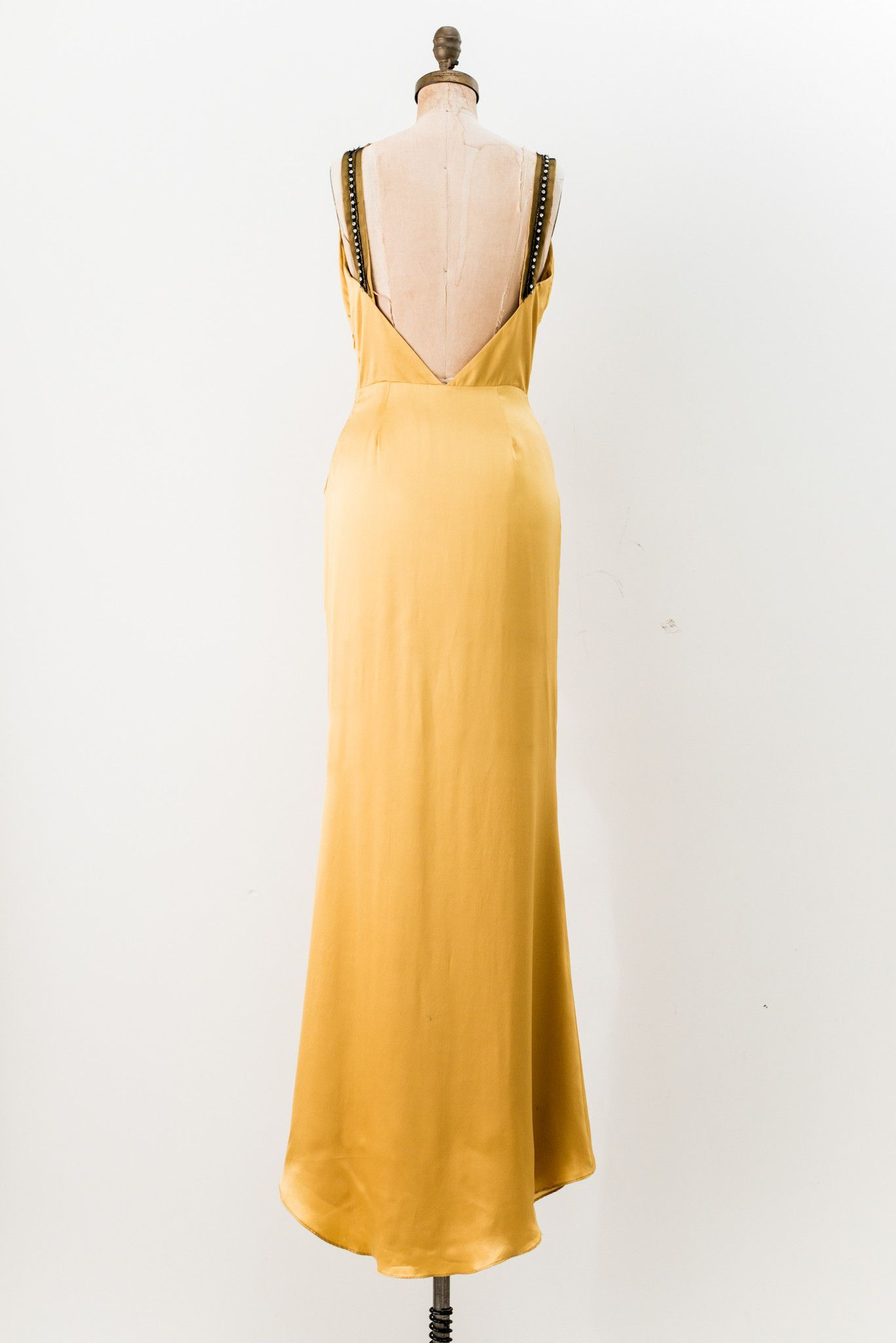 Vintage Goldenrod Satin Gown - S/M | Satin gown, Gowns and Gold weddings