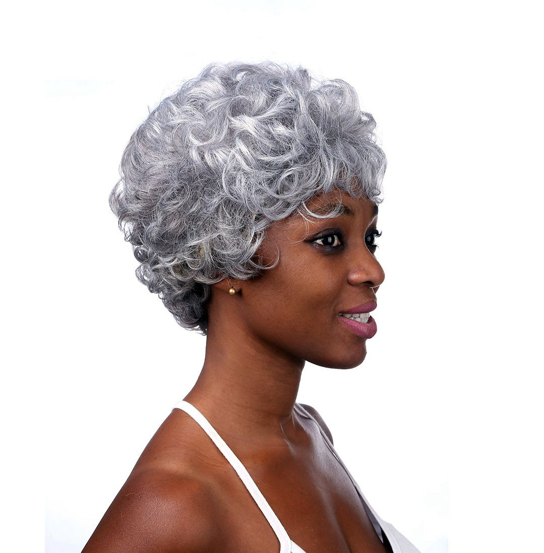 2019 new middleaged wig short curly cosplay granny grey