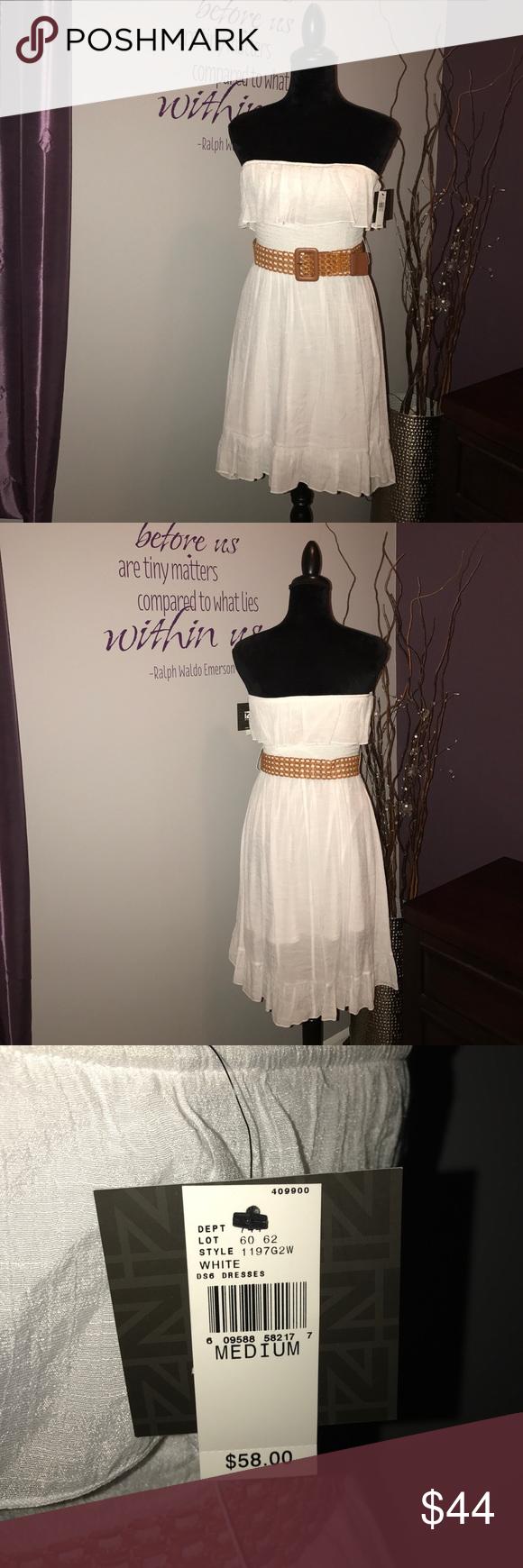 Price drop white summer dress w belt nwt white summer dresses