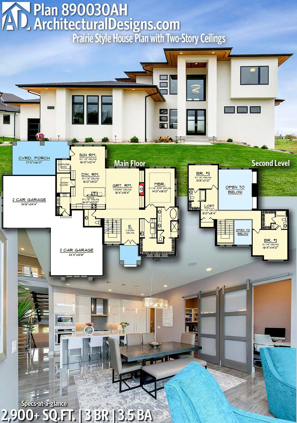Plan 890030ah Prairie Style House Plan With Two Story Ceilings Prairie Style Houses Modern House Plans House Layout Plans