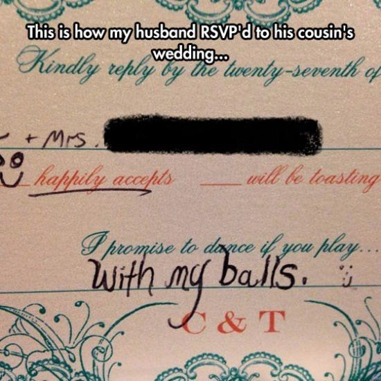 How to rsvp a wedding invitation and have a ball funny joke prank how to rsvp a wedding invitation and have a ball funny joke prank best stopboris Gallery