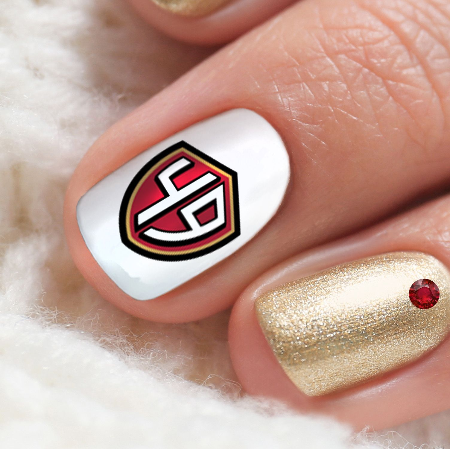 Details About San Francisco 49ers Football Nail Art Decals Salon Quality Football Nail Art Football Nails 49ers Nails