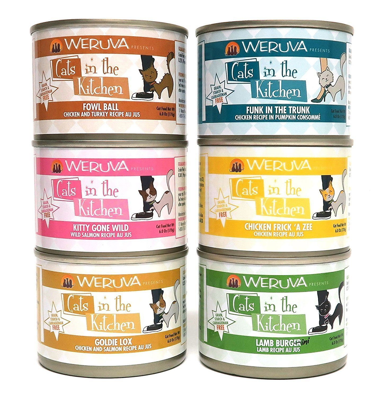 cats in the kitchen design online weruva canned cat food variety pkk 6 oz each flavors goldie lox kitty gone wild funk trunk fowl ball chicken frik a