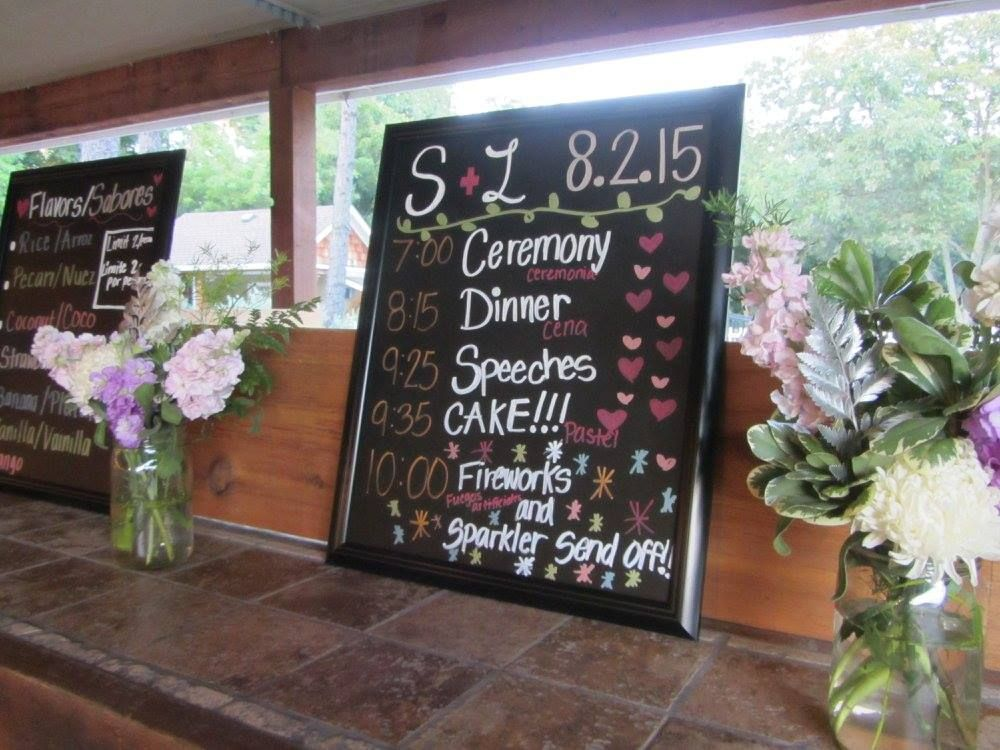 This sign was used to display the schedule at a recent wedding at 1899 Farmhouse outdoor wedding venue.