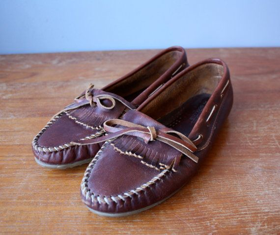 vintage minnetonka moccasins / brown leather loafers by GazeboTree