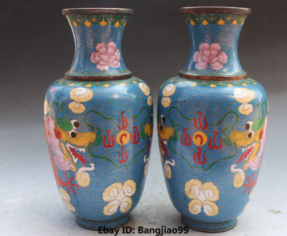 Chinese cloisonne enamel blue flower vase dragon pattern jar 10chinese cloisonne enamel blue flower vase dragon pattern jar bottle vase pair reviewsmspy
