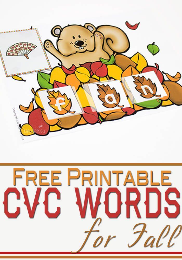 Fall Word Work: FREE CVC Word Building Printable - Life Over C's