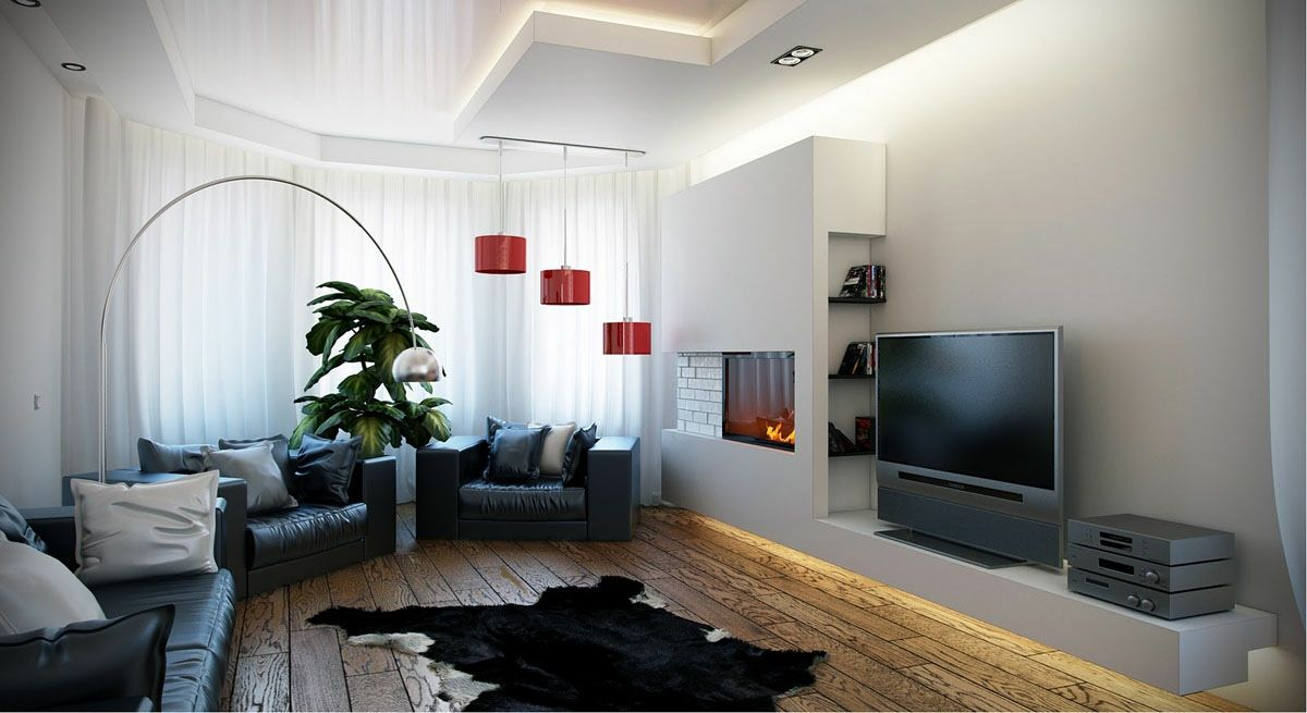 black white red living room - integrated tv unit and fireplace