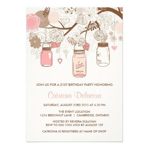 Vintage Pink Mason Jars Birthday Party Invitation