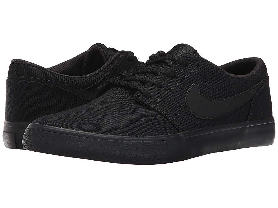 Nike SB Portmore II Solar Canvas Men's Skate Shoes Black/Black ...