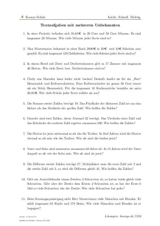 Textaufgaben mit mehreren Unbekannten | Aufgaben mit Lösungen und ...