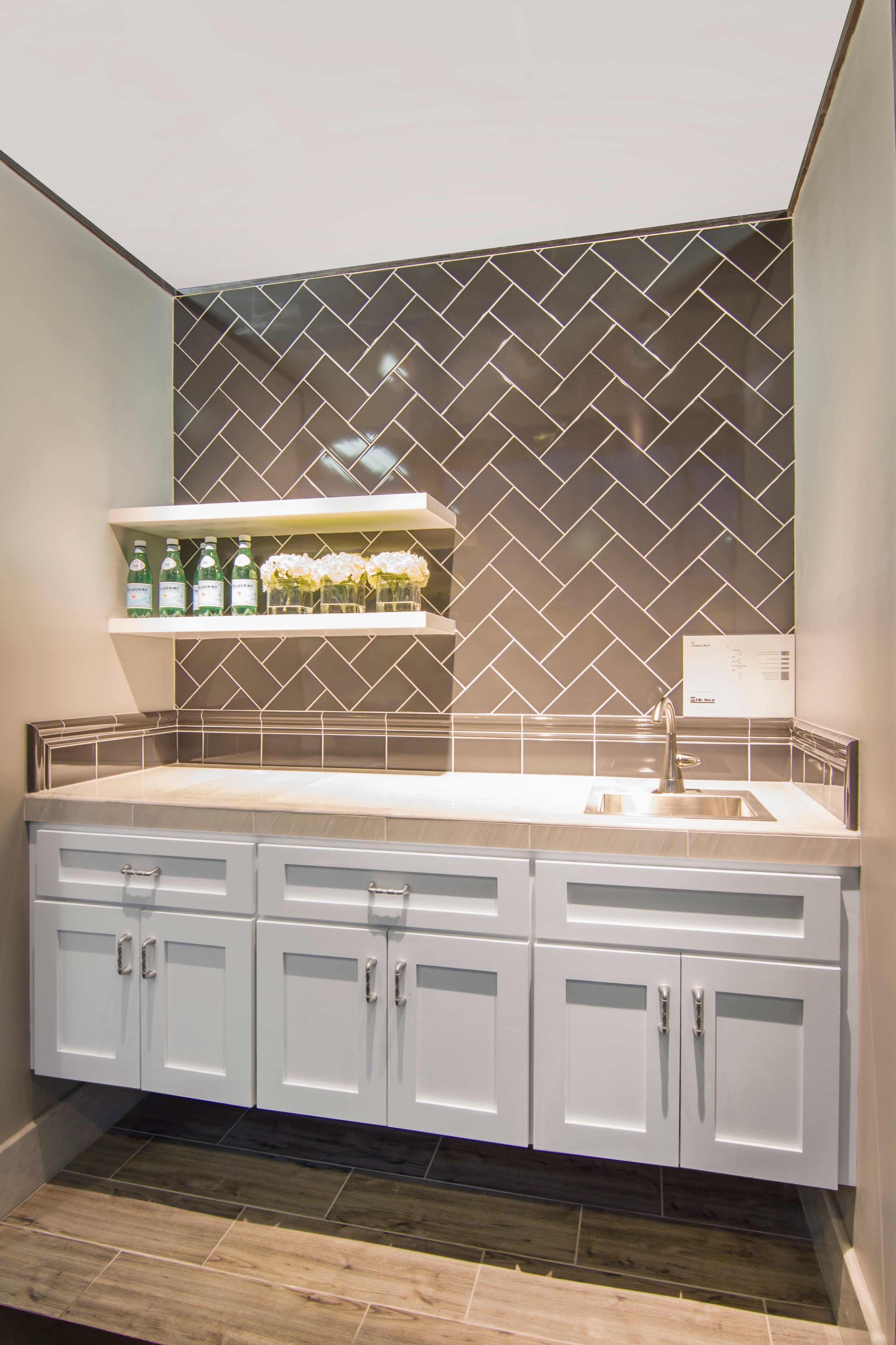 Home Bar Designs Counter Backsplash Tile Imperial Pewter Gloss