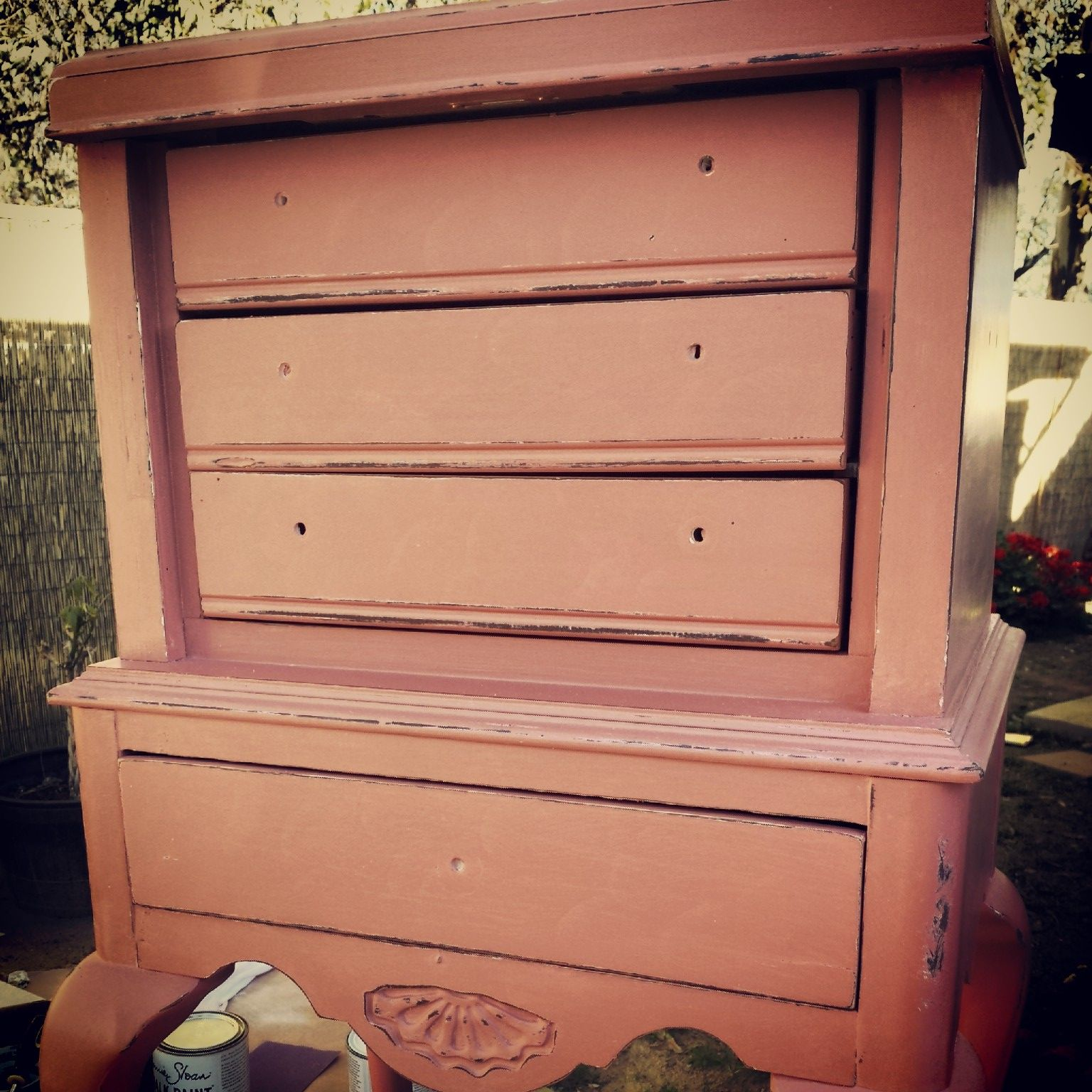 Painted with Annie Sloan Chalk Paint in Scandinavian Pink. Distressed and waxed with clear and dark.
