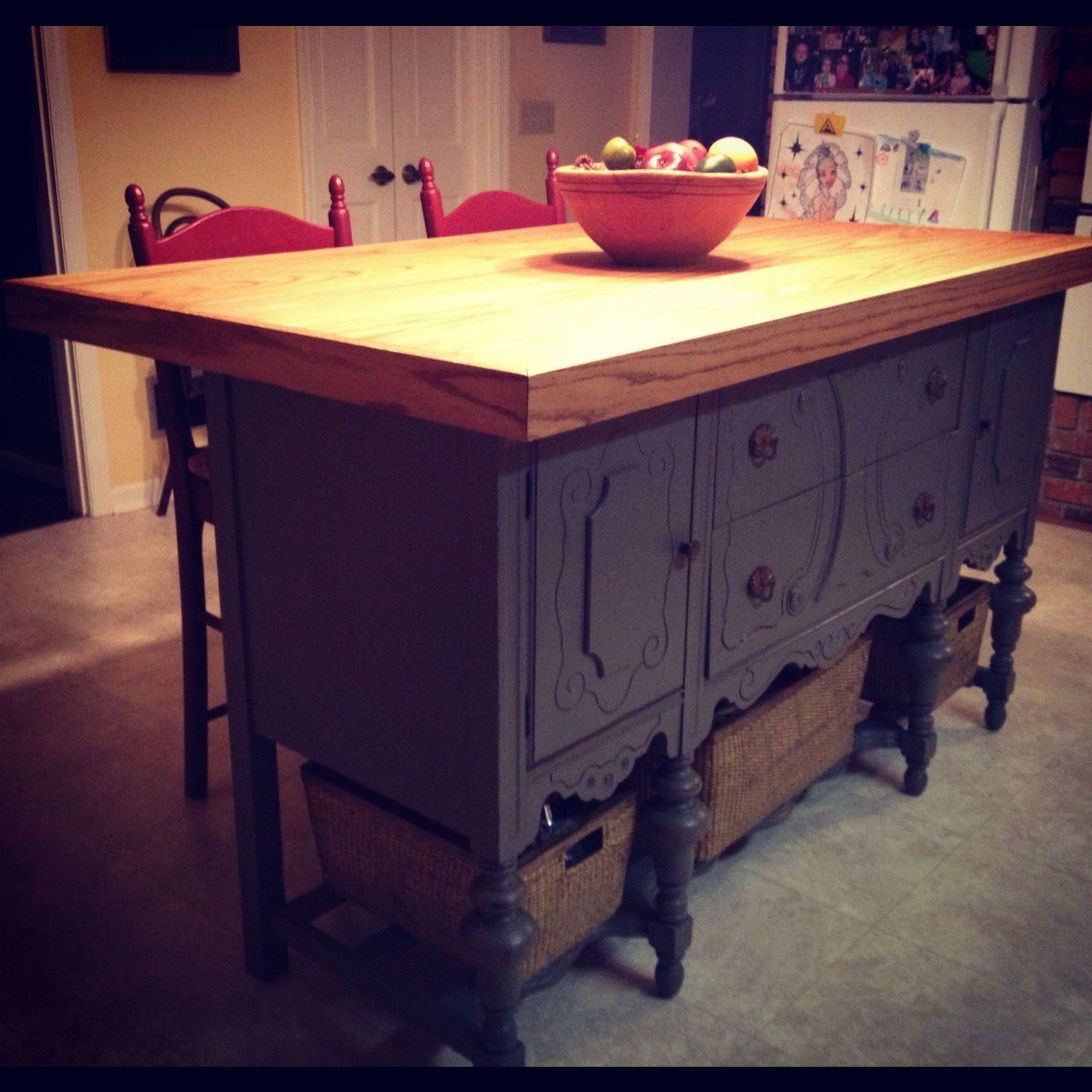 Custom Kitchen Island Handcrafted From An Antique Buffet By My Husband For Anniversary Present Love That Guy Islandchairs