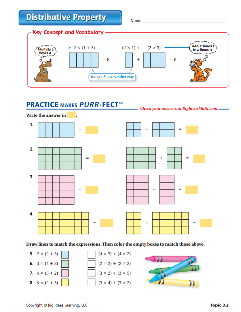 Distributive Property Worksheet Distributive Property Distributive Property Activity Math Charts
