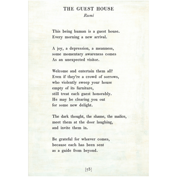 The Guest House Rumi Sugarboo And Co Poetry Collection White Gallery Wrap The Guest House Rumi Healing Words Old Poetry