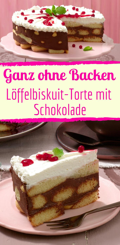 Loffelbiskuit Torte Ganz Ohne Backen Rezept Kuchen Ohne Backen Backen Kuchen Und Torten