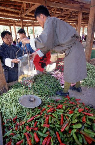 Weighing Chilies. Bhutan