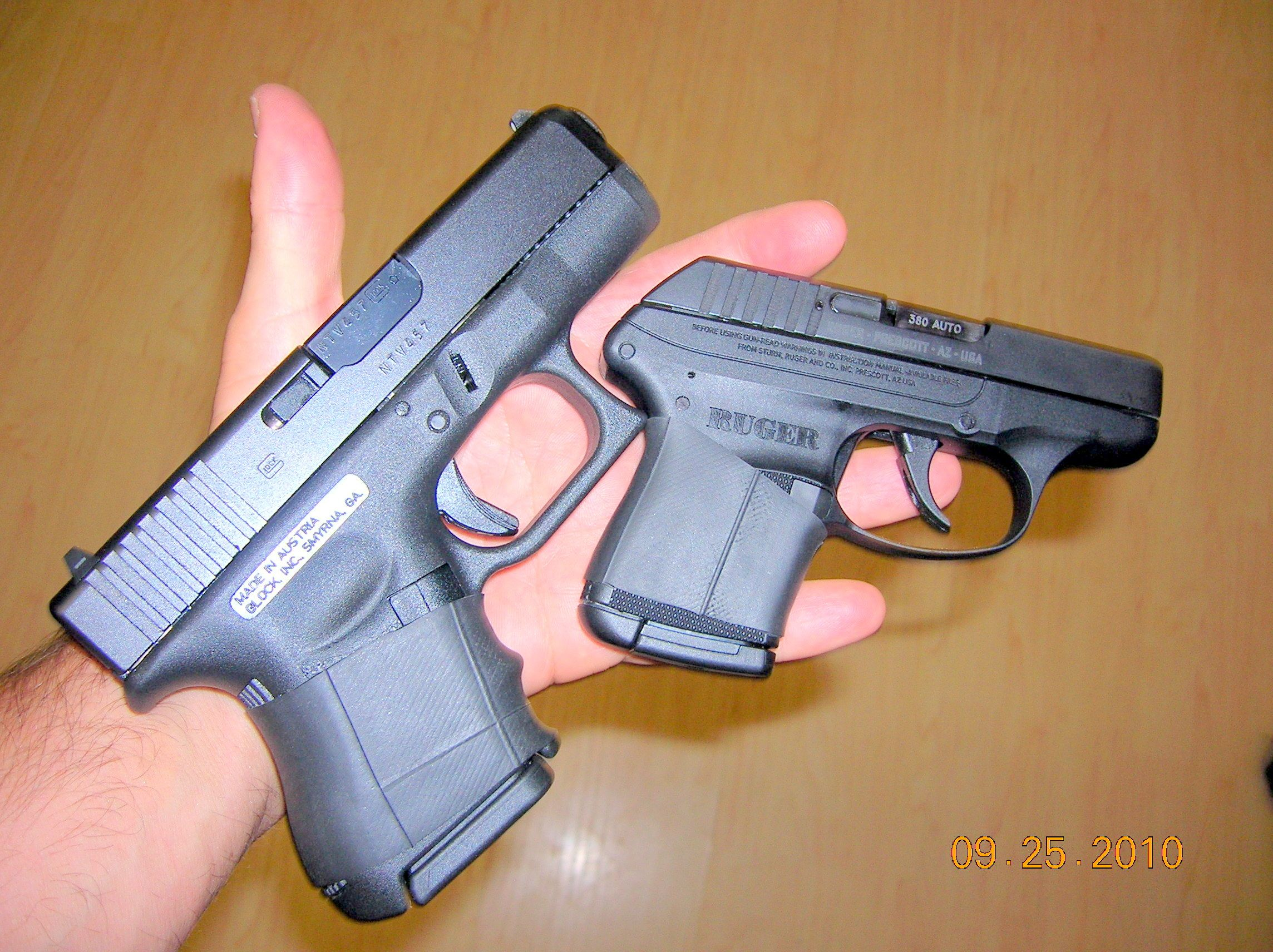 Glock 26 vs. Ruger LCP size - visual comparison... So tiny ...