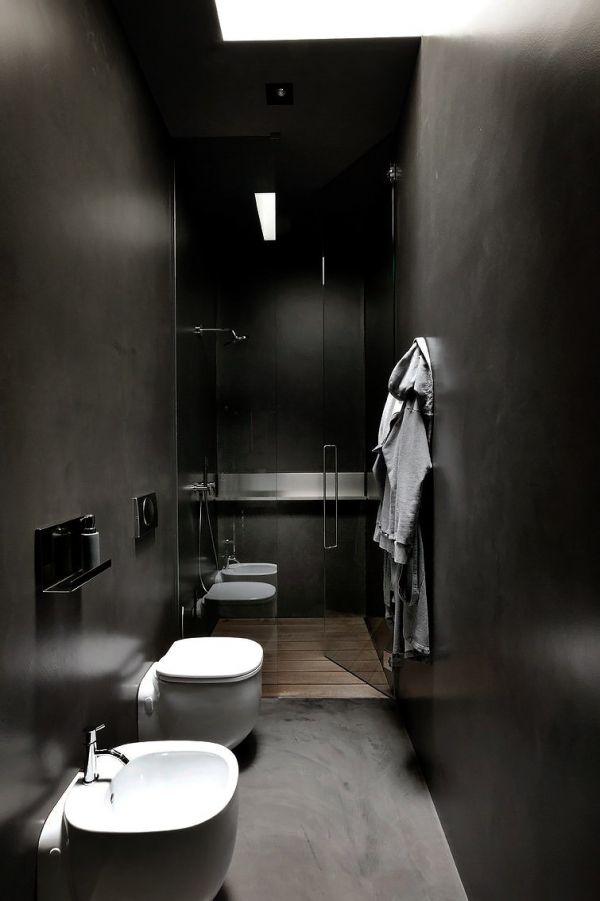 Trendy zwarte badkamer, gietvloer / muur afwerking - www.witzand.nl ...