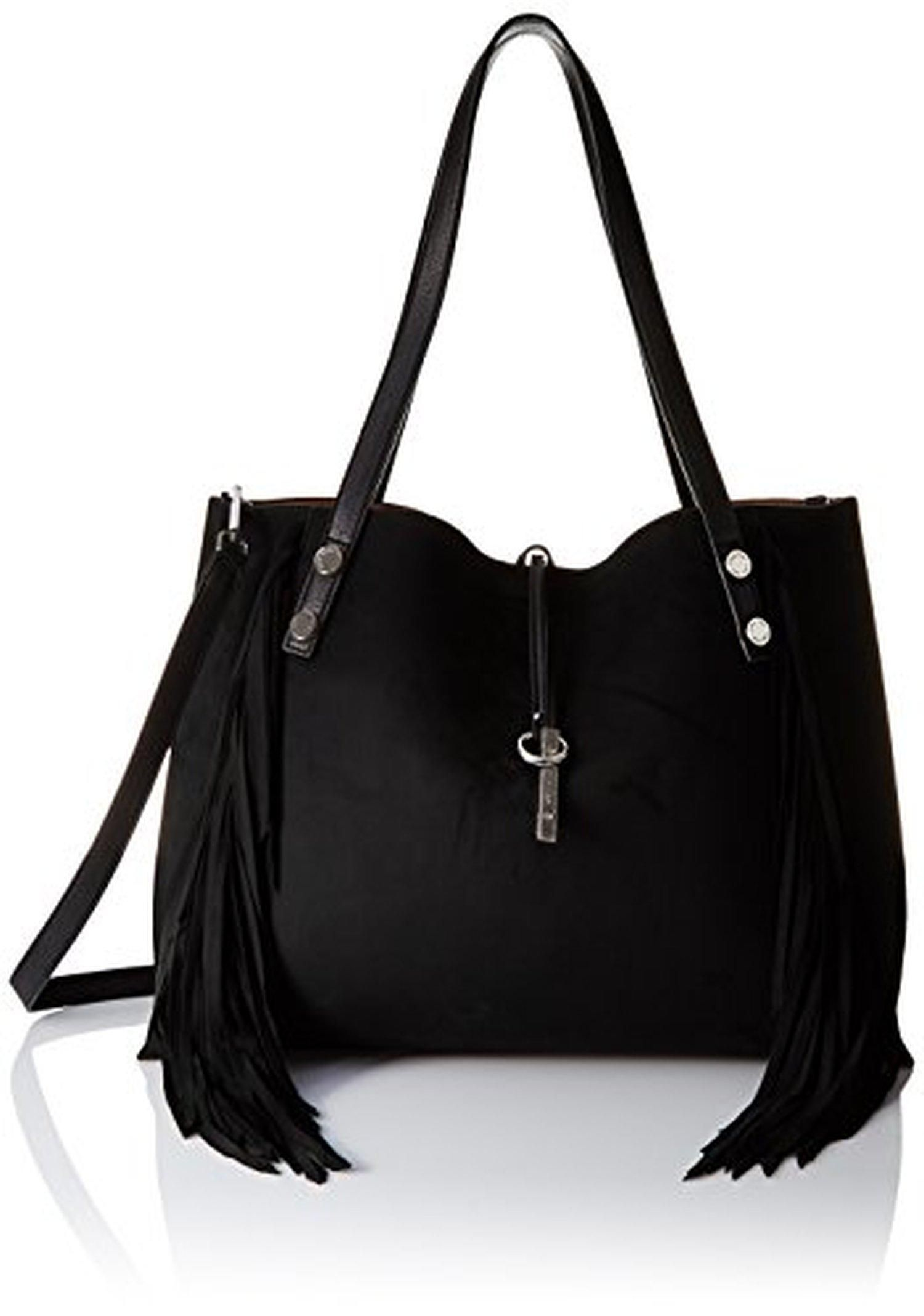 79bf185c5 Calvin Klein Novelty Suede Fringe Reversible Blk/Lug Tote Bag, Black/Luggage,  One Size - Brought to you by Avarsha.com