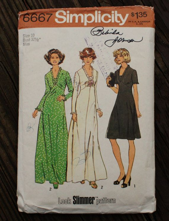 f822ca0ee848a Simplicity 6667 1970s 70s Boho Bohemian Midi Maxi Dress Gown Sewing Pattern  Size 10 Bust 32.5