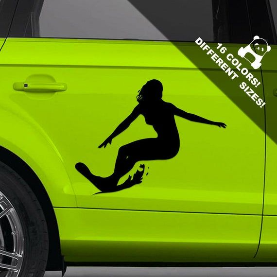 Surf Girl Car Vinyl Decal, Surfer Girl Truck Or Bumper Sticker #surfgirls