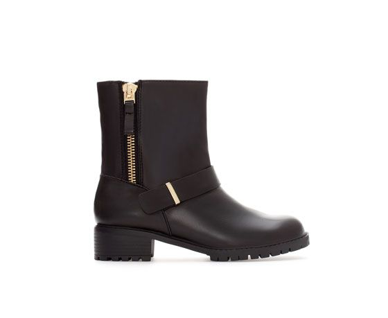 LEATHER ANKLE BOOT WITH ZIP - Woman - New this week   ZARA United States