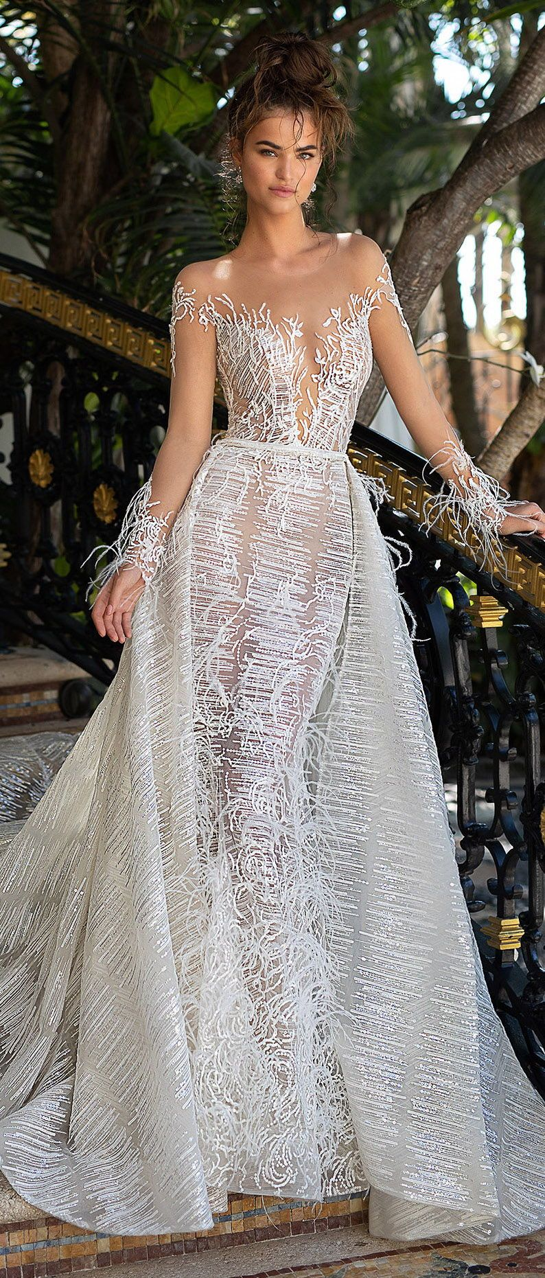 Berta Wedding Dresses Fitted Wedding Dress Illusion Plunging