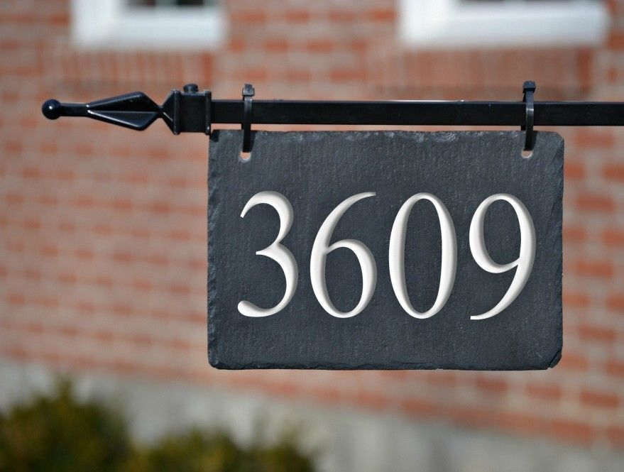 Hanging House Numbers Mailbox Lamppost Carved Stone Address