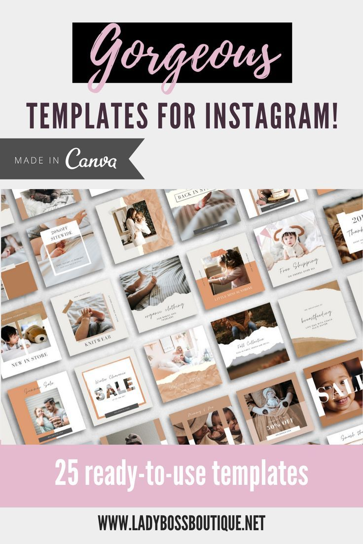 25 Instagram Templates made in Canva Baby Lady Boss