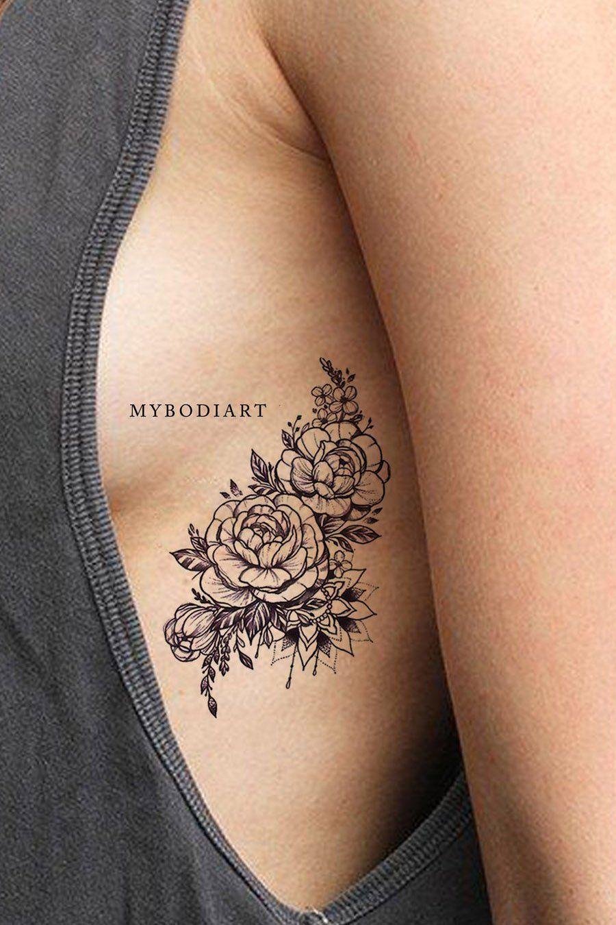 Chilam Watercolor Small Red Black Rose Mandala Temporary Tattoos Rose Rib Tattoos Rib Tattoo Flower Tattoo On Ribs