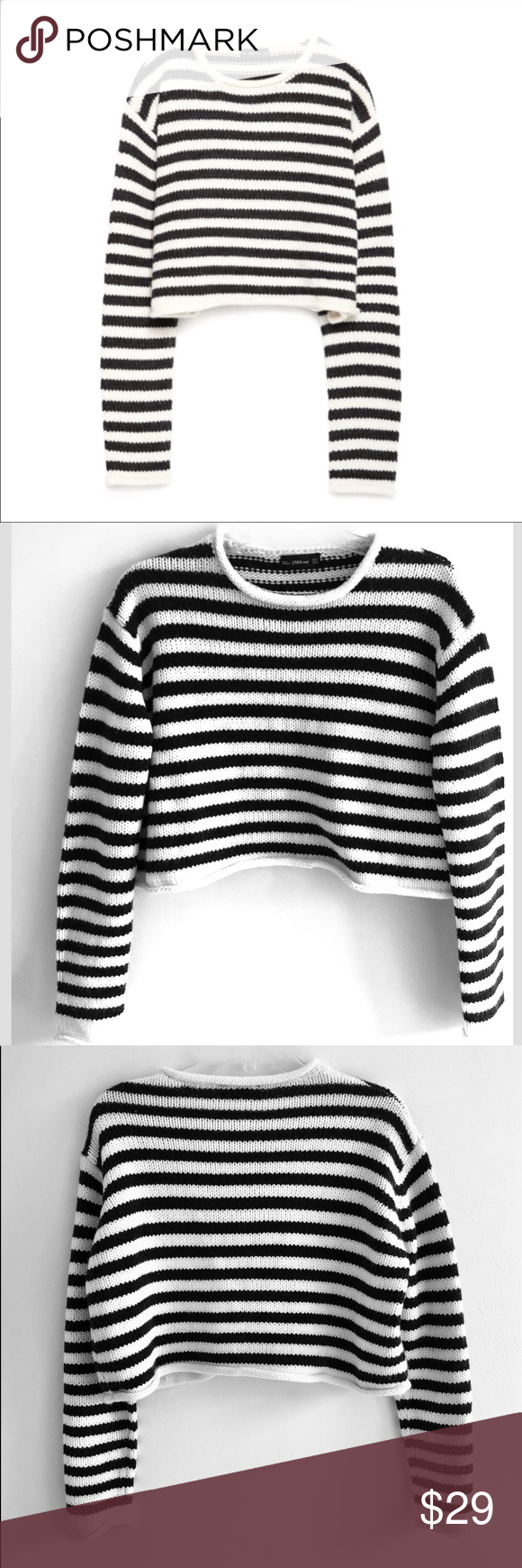 7e7e8739 Zara Knit Striped Cropped Sweater Chunky Knit Sweater in Black and cream  striped. Cropped length look great with high waist pants. Very good  condition.