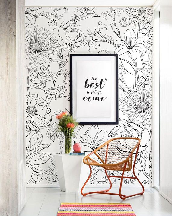 Botanical Garden Hand Drawn Flowers Accent Mural Wallpaper, Line Art Flowers, Extra Large Wall Art, Peel and Stick Wall Poster