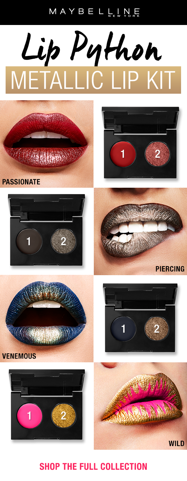 Metallic Lip Art Made Easy With New Lip Python Metallic Lip Kits These Kits Feature A Creamy Lipstick Shade And A Metallic Makeup Metallic Lips Lip Art Makeup