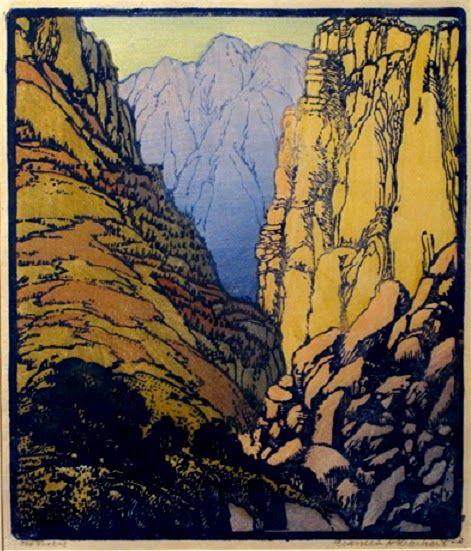 Frances Hammell Gearhart 1869 1958 Colour Woodcut 1935