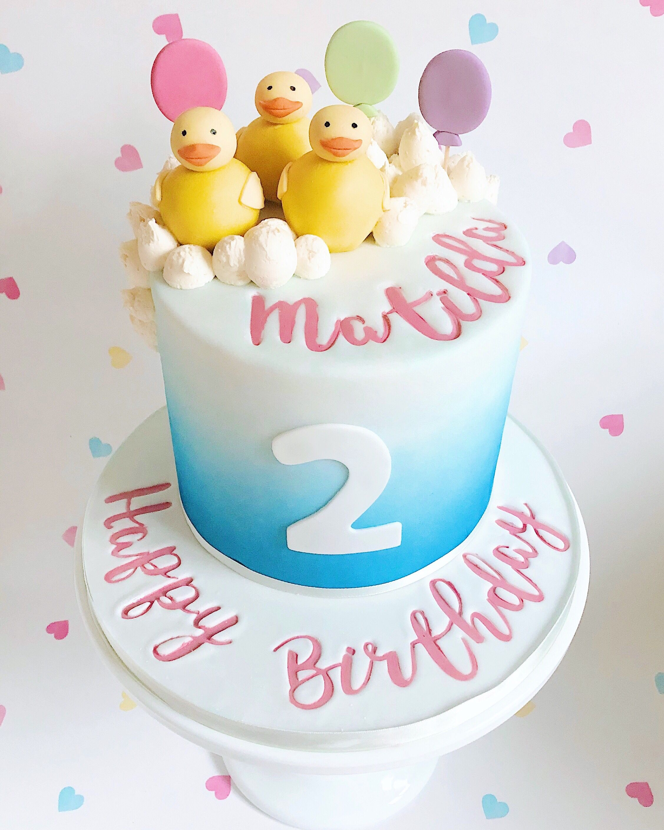 Surprising A 2Nd Birthday Cake With The Theme Ducks Birthday Cake Funny Birthday Cards Online Alyptdamsfinfo