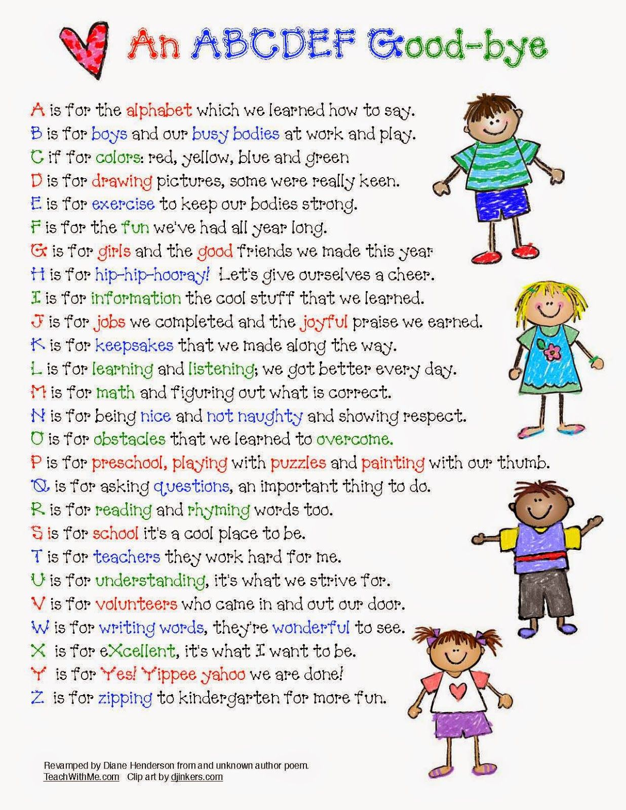 Classroom Freebies Abc Ya Farewell Poem For The End Of The