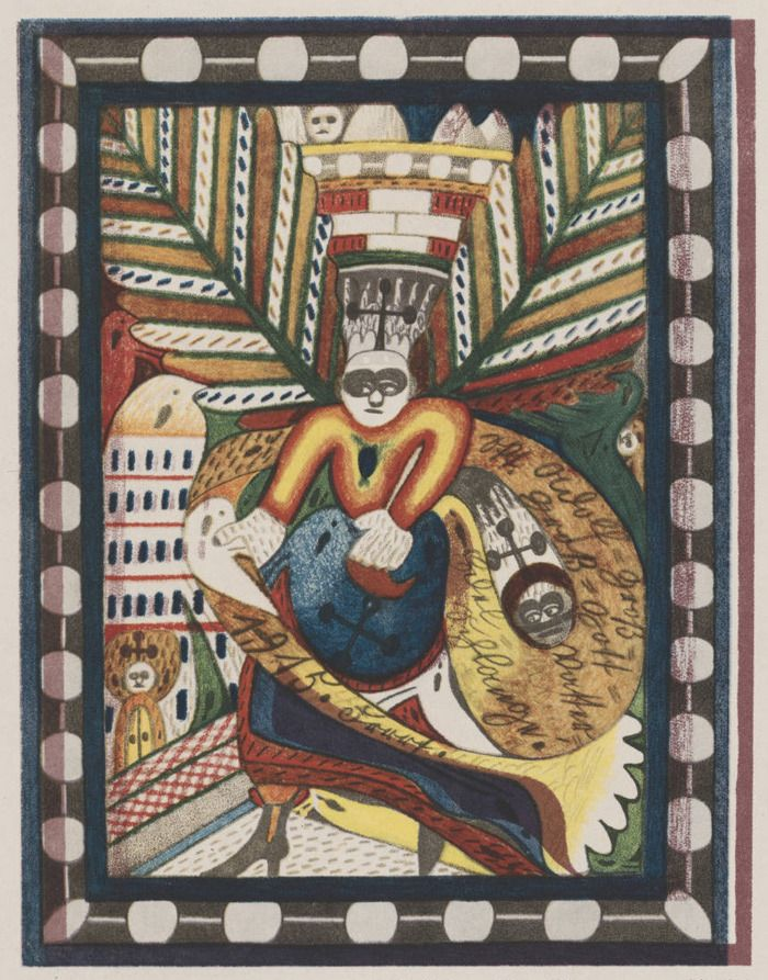 Adolf Wolfli, Dekorativ-symbolische Zeichnung (Buntstift)