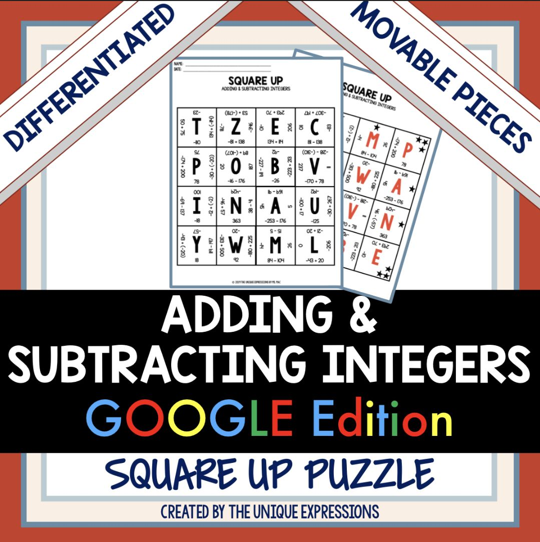 Adding Amp Subtracting Integers