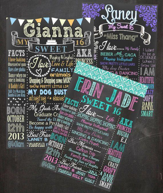 Sweet 16 Birthday Board Poster Custom Sweet Sixteen Birthday Party Ideas Diy And P Sweet Sixteen Birthday Party Ideas Sweet Sixteen Birthday Sweet 16 Birthday