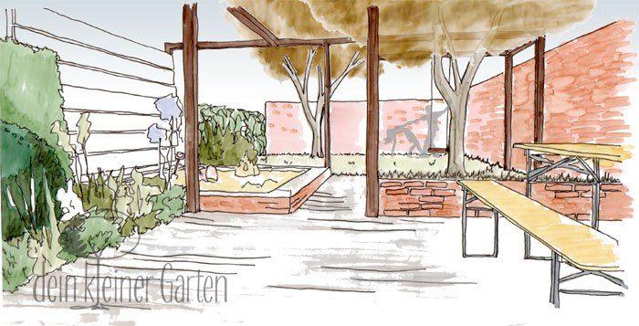 #Garten Konzept Blick über Terrasse