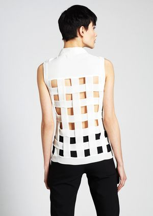 LOST APRIL Sleeveless Top with Lattice Back