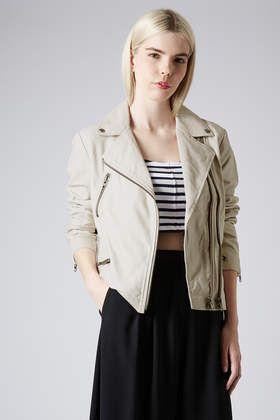 Soft Leather Double Zip Biker Jacket - Topshop