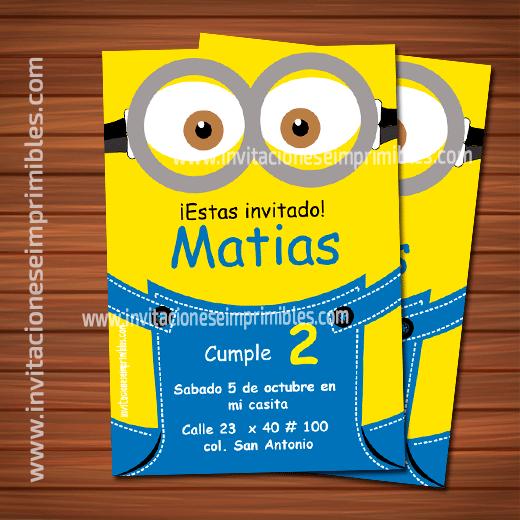 Invitacion De Cumpleaños Para Imprimir Minions Cumpleaños