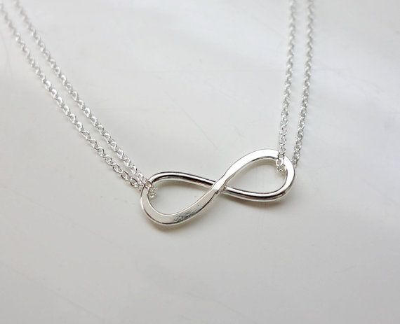 Infinity fashion pinterest infinity sterling silver and chains simple sterling silver infinity double strand chain necklace love you forever and always promise jewelry aloadofball Image collections