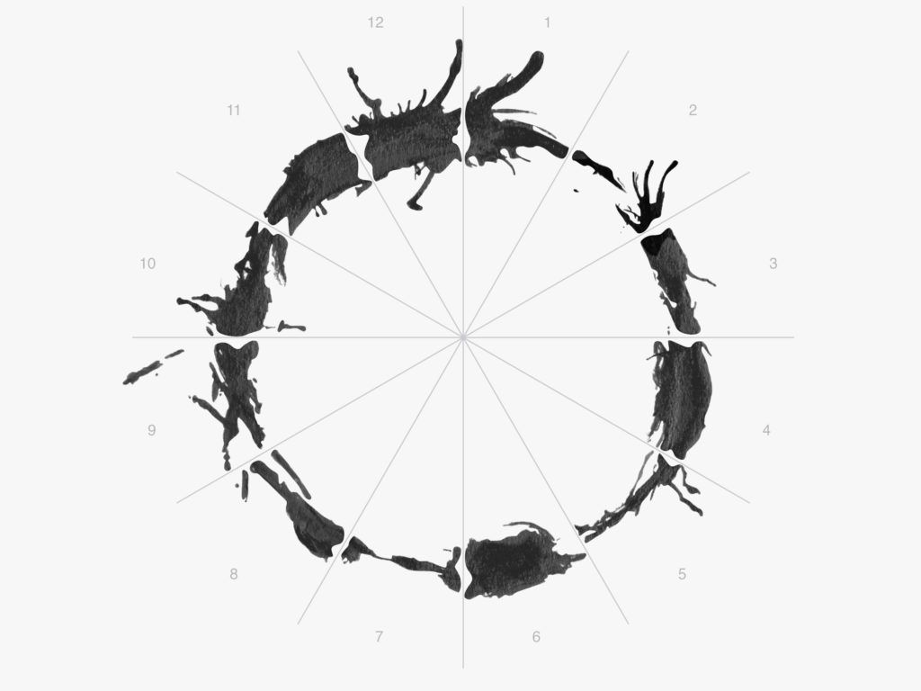 How <em>Arrival's</em> Designers Crafted a Mesmerizing Alien Alphabet | <em>Arrival'</em>s design team brought in Stephen Wolfram, founder of Mathematica coding software, and his son, Christopher Wolfram, to analyze the language the way Louise and Ian might. They reasoned that each logogram could be cut up into 12 pieces. | Credit: Aaron Morrison | From Wired.com