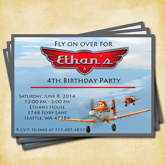 Planes Birthday Party - Printable Custom Invitation by KatiePaigeDesign