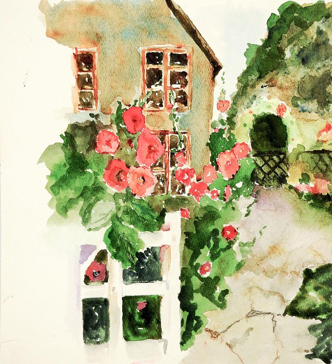 English Garden Watercolor Painting